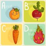 Gulligt grönsak- och fruktalfabet illustration för diagram för tecknad filmteckenbarn färgrik Royaltyfri Fotografi
