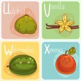 Gulligt grönsak- och fruktalfabet illustration för diagram för tecknad filmteckenbarn färgrik Fotografering för Bildbyråer