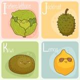 Gulligt grönsak- och fruktalfabet illustration för diagram för tecknad filmteckenbarn färgrik Arkivfoton