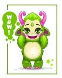 Gulligt grönt monster för tecknad film Royaltyfri Bild
