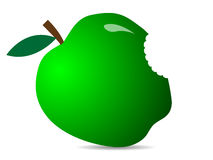 Gulligt grönt nytt äpple Illustration av en äpplesymbol Royaltyfri Bild