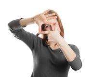 Gulligt göra en gest för flicka Arkivbild