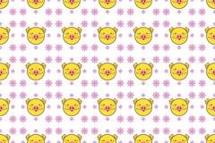 Gulligt gult svin på lotusblommabakgrund vektor illustrationer