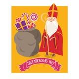 Gulligt hälsningkort med helgonet Nicholas Sinterklaas med mitren royaltyfri illustrationer