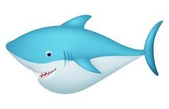 Gulligt hajtecknad filmtecken stock illustrationer