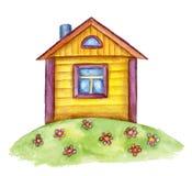 Gulligt hus för vattenfärg Arkivbild