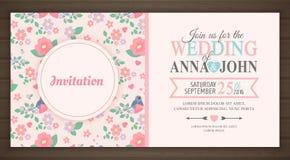 gulligt inbjudanbröllop för kort Royaltyfria Foton