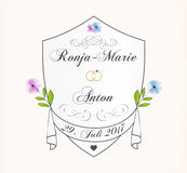 gulligt inbjudanbröllop för kort Royaltyfria Bilder