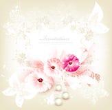 Gulligt inbjudanbröllopkort med blommor royaltyfri illustrationer