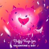 Gulligt instagramkort med rosa fluffig jäkelhjärta på bakgrund för diskoparti royaltyfri illustrationer