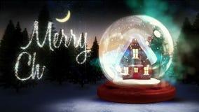Gulligt jordklot för snö för julhusinsida med det magiska meddelandet stock video