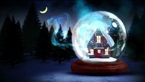 Gulligt jordklot för snö för julhusinsida med magiskt ljus lager videofilmer