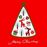 Gulligt julhälsningkort med renen och trädet, illustration Royaltyfria Bilder