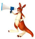 Gulligt kängurutecknad filmtecken med den höga högtalaren Royaltyfri Bild