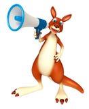 Gulligt kängurutecknad filmtecken med den höga högtalaren Royaltyfri Fotografi