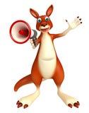 Gulligt kängurutecknad filmtecken med den höga högtalaren Royaltyfria Foton