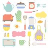 gulligt kök för samling stock illustrationer