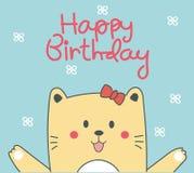 Gulligt kattfödelsedagkort Royaltyfri Bild