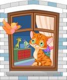 Gulligt kattungesammanträde på fönstret Royaltyfri Foto