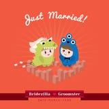 Gulligt kawaiibrudgummonster och bridezillatecken Royaltyfria Bilder