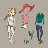 Gulligt klä upp den pappers- dockan Kroppmall, kläder och tillbehör också vektor för coreldrawillustration stock illustrationer