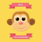 Gulligt kort för hälsning för lyckligt nytt år för apa Symbol för nytt år 2016 Arkivbild