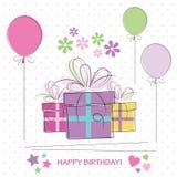 Gulligt kort för lycklig födelsedag Fotografering för Bildbyråer