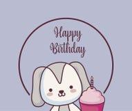 Gulligt kort för lycklig födelsedag för vovve royaltyfri illustrationer