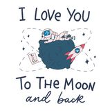 Gulligt kort med astronautet, måne, rymdskepp och märkainskrift vektor illustrationer