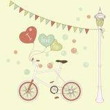Gulligt kort med ballonger och bicycleforvalentin Royaltyfri Foto