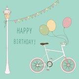 Gulligt kort med ballonger och cykeln Arkivbilder