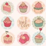 Gulligt kort med Cakes och efterrätter vektor illustrationer