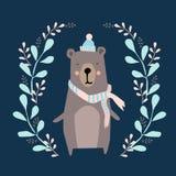Gulligt kort med den hand drog björnen stock illustrationer