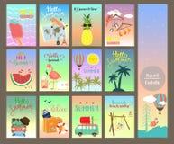 Gulligt kort med Eiffeltorn, bagage, översikt, flygplan, flamingo, skåpbil Royaltyfria Bilder