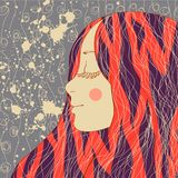 Gulligt kort med flickan i vektor Romantisk valentindagbakgrund Illustration med konturn av kvinnan royaltyfri illustrationer