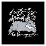 Gulligt kort med liggande kanin Fotografering för Bildbyråer