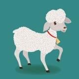 Gulligt lamm med klockan Arkivbild