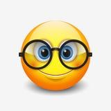 Gulligt le bärande glasögon för emoticon, emoji, smiley - vektorillustration vektor illustrationer