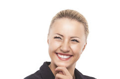 Gulligt le den lyckliga och blygsamma Caucasian kvinnliga modellen Looking Sid Arkivbilder