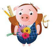 Gulligt ledset skolpojkesvin med en ryggsäck stock illustrationer