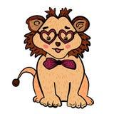Gulligt lejon med exponeringsglas i form av hjärta och flugan lycklig s valentin för dag Gullig tecknad film leo Den söta känslan vektor illustrationer