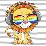 Gulligt lejon med solexponeringsglas Royaltyfri Fotografi