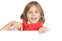 Gulligt litet barn ett vitt bräde Royaltyfria Bilder