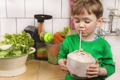 Gulligt litet barn med en ny kokosnöt Royaltyfria Foton
