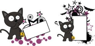 Gulligt litet för tecknad filmhalloween för svart katt utrymme kopia stock illustrationer