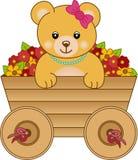 Gulligt little inre vagnsblommor för björn royaltyfri illustrationer