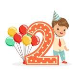Gulligt lyckligt behandla som ett barn pojken som firar hans andra födelsedag, färgrik illustration för vektor för tecknad filmte stock illustrationer
