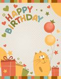 Gulligt lyckligt födelsedagkort en katt Royaltyfri Fotografi