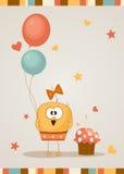 Gulligt lyckligt födelsedagkort. Vektorillustration Royaltyfria Foton