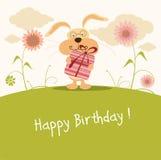 gulligt lyckligt för födelsedagkaninkort Royaltyfria Foton